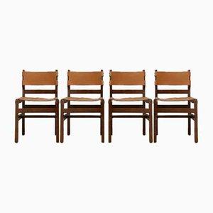 Französische Mid-Century No.2 Esszimmerstühle aus Leder von Maison Regain, 4er Set