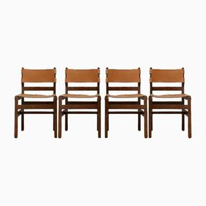 Mid-Century French Leather Set No.2 Dining Chairs from Maison Regain, Set of 4