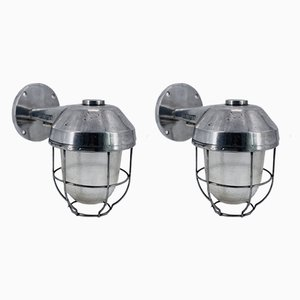 Large Ship Liner Aluminum Outdoor or Indoor Wall Lights with Thick Glass, Set of 2
