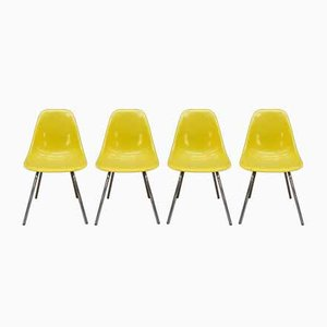 DSX Fiberglass and Metal Yellow Chrome Chair by Eames for Vitra, 1980s, Set of 6