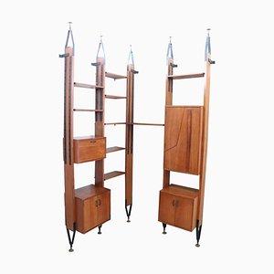Vintage Modular Teak Floor-to-Ceiling Corner Bookcase, 1960s