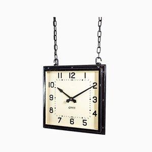 Doppelseitige industrielle doppelte Vintage Uhr von Gents of Leicester