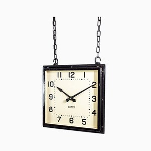 Vintage Industrial Square Double Sided Clock from Gents of Leicester
