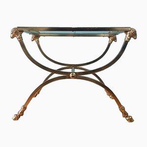 Italian Brass & Glass Side Table, 1970s