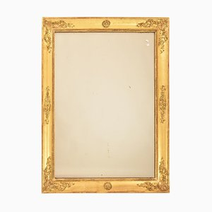 Antique Rectangular Wall Mercury Mirror with Gold Leaf Frame, 19th Century