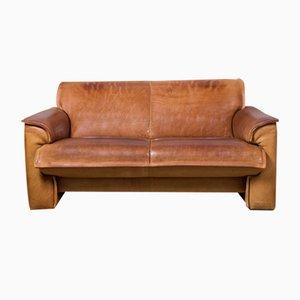 Sofá de dos plazas con cuello de cuero de Leolux, años 70