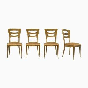 Italienische Esszimmerstühle aus Samt, 1940er, 4er Set