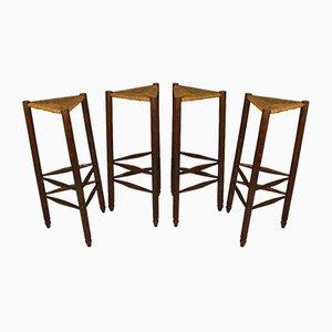 Französische Mid-Century Barhocker im Stile von Charlotte Perriand, 4er Set