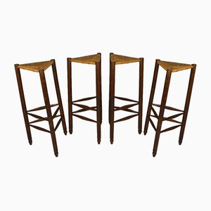 Mid-Century French Bar Stools in the Style of Charlotte Perriand, Set of 4