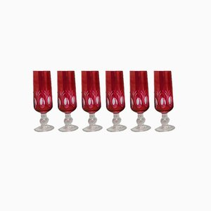 Red Bohemian Cut Crystal Glasses, 1960s, Set of 6