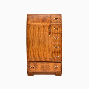 Art Deco Figured Walnut Compactum Wardrobe, 1930s