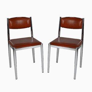 Vintage Chrom & Kunstleder Stühle, 1970er, 2er Set
