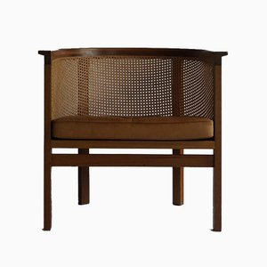 Mid-Century Cane & Leather King Series Armchair by Thygesen & Sørensen for Botiumin, 1970s