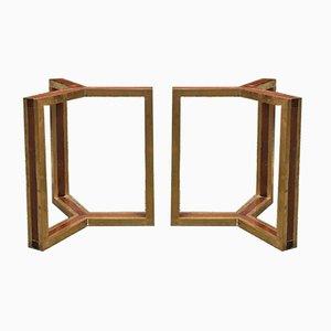 Mid-Century Italian Modern Brass & Wood Bases, 1980s, Set of 2