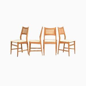 Dänische Stühle mit Sitz aus Rattan, 4er Set