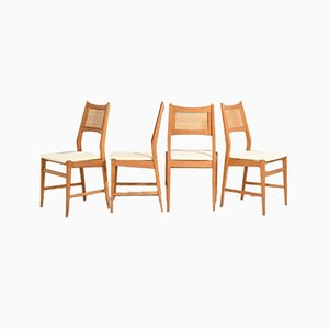 Danish Chairs with Rattan Seat Upholstered in Velvet, Set of 4