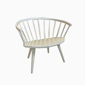 Silla Arka escandinava vintage blanca de Yngve Ekstrom, años 50