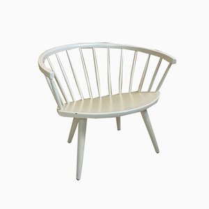 Vintage Scandinavian White Arka Chair by Yngve Ekstrom, 1950s