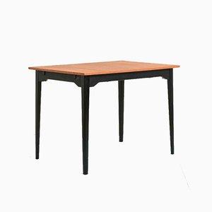 Mesa extensible vintage de teca con patas negras