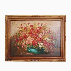 Lackierte florale Komposition von Lina Rossi, 1930er