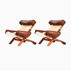 Sheep Skin Ox Chairs Attributed to Sergio Rodrigues, Set of 2