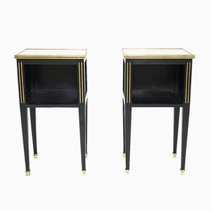 Brass Marble Wood Side Tables by Maison Jansen, 1950s, Set of 2