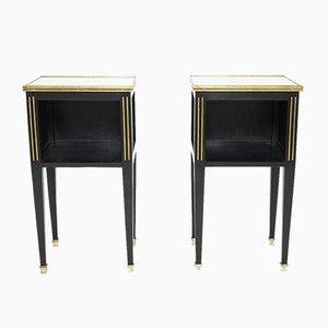 Tavolini in ottone e legno di Maison Jansen, anni '50, set di 2