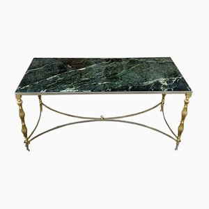 Mid-Century Green Marble & Brass Coffee Table