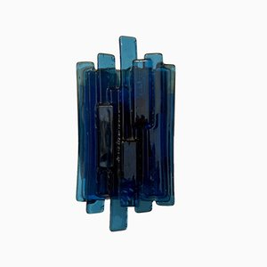Blaue Wandlampe aus Muranoglas, 1950er