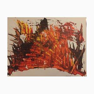 Französische Zeitgenössische Kunst, Ankunft der Gegenwart, Jeremiah Revourgeard, Acryl auf Papier