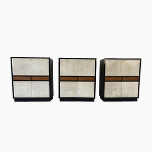Italian Art Deco Black Lacquer & Parchment Cabinet, 1940s, Set of 3