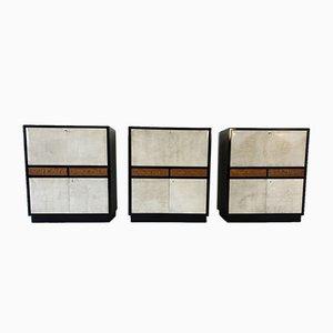 Italian Art Deco Black Lacquer & Parchment Cabinet, 1940s, Set of 3