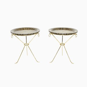 Brass Pedestal Tables from Maison Roméo, 1970s, Set of 2