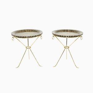 Brass Pedestal Tables from Maison Roméo, 1970s, Set of 2