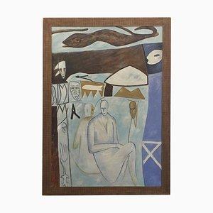 Pintura abstracta sobre lienzo