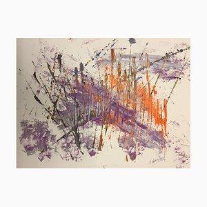 Arte francés contemporáneo, la pluma de la madre celestial, Jeremiah Rebourgeard, acrílico sobre papel