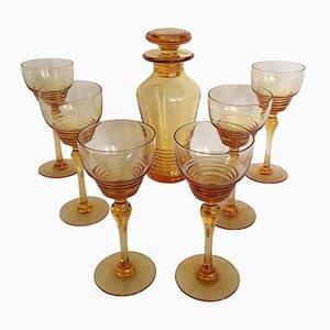 Bicchieri Hock e caraffa Art Déco di Stuart Crystal, 1930, set di 7