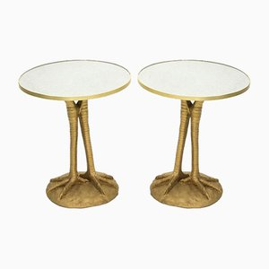 Golden Pedestal Resin Mirror Tables from Maison Roméo, 1970s, Set of 2