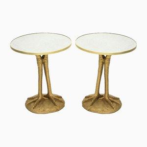 Golden Pedestal Resin Mirror Tables from Maison Roméo, 1970s, Set of 2