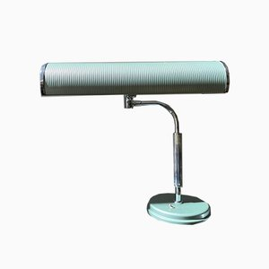 Vintage Articulated Green Chromed Steel & Aluminum Model Compta Desk Light by Jumo