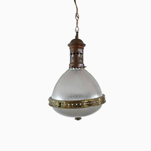 Antique French Holophane Pendant Light