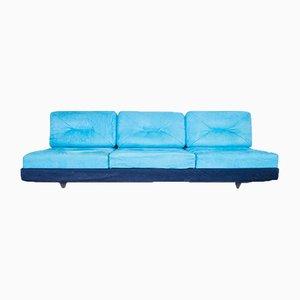 Italian Blue Fabric Sofa, 1980s