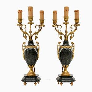 Antike französische Lampen aus vergoldetem Metall & Marmor, 2er Set