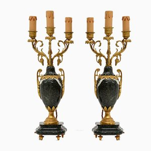 Antique French Gilt Metal & Marble Lamps, Set of 2