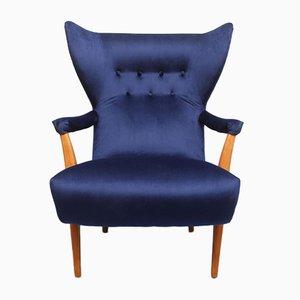 Chaise Mid-Blue avec Ottomane, 1950s, Set de 2