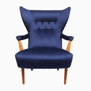 Midnight Blue Chair with Ottoman, 1950s, Set of 2