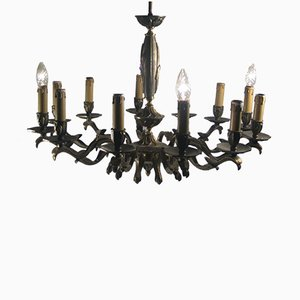 Large 12-Arm Brass Chandelier, 1940s