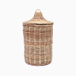 Large Vintage Wicker Basket with Lid, 1970s