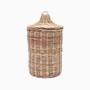 Large Vintage Wicker Basket with Lid, 1970s