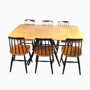 Schwedische Teak Fanett Esszimmerstühle & Tisch mit 2 Verlängerungsplatten von Ilmari Tapiovaara für Edsbyverken, 7er Set